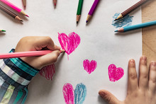 Baby Hand With Pencil Heart Dr...