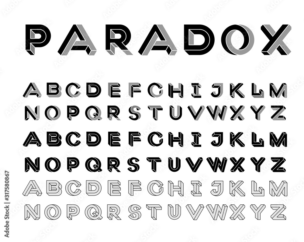 Fototapeta Paradox shape font. Impossible Letters. Set of vector letters constructed on the basis of paradox isometric view. Vector illustration 10 eps
