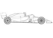 Silhouette F1 Car Vector