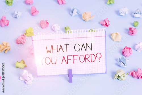 Handwriting text What Can You Afford question Canvas Print