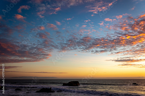 Sunset Sky Colors Over the Pacific Ocean