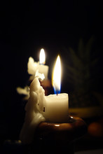 Christmas Candle Burning On Ch...