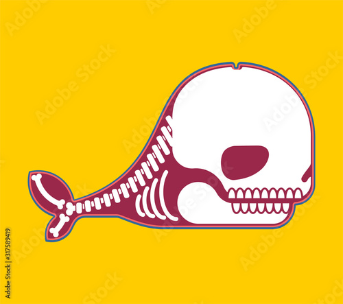 Whale skeleton isolated cartoon Canvas-taulu