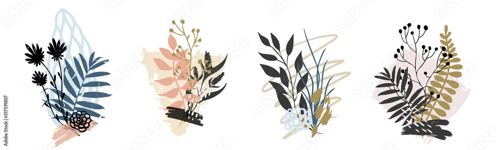 Fototapeta Hand drawn vector abstract tropical leaves background isolated on white. Vector - obraz na płótnie
