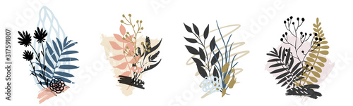 Obraz Hand drawn vector abstract tropical leaves background isolated on white. Vector - fototapety do salonu