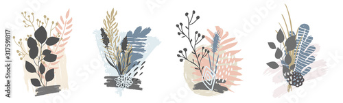 Fototapeta Hand drawn vector abstract tropical leaves background isolated on white. Vector obraz na płótnie