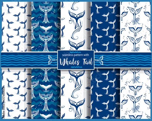 Seamless pattern with Whales Tail Canvas Print