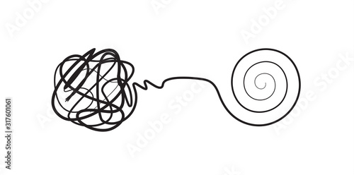 Cuadros en Lienzo Complex lines knot simplified into simple spiral, complex problem solving icon,