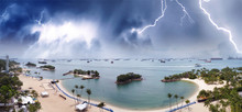 Sentosa, Singapore. Aerial Panoramic View Of Siloso Beach During A Storm