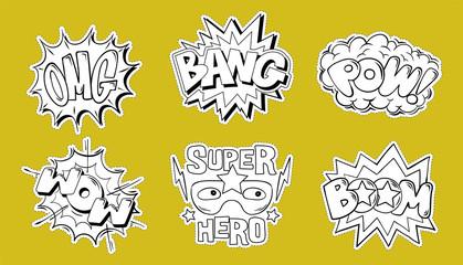 Set collection bundle of emotions comics style
