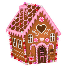 Isolated Gingerbread House For Valentine's Day