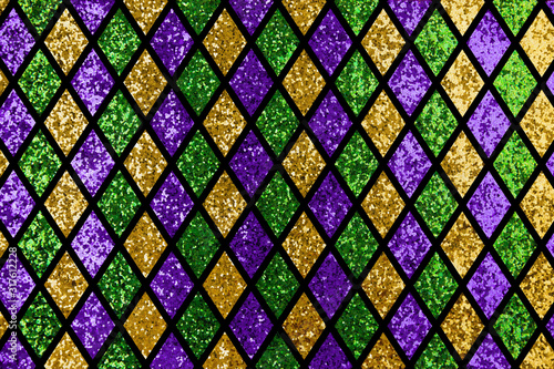 Obraz na plátne Shiny green, purple and golden pattern background