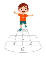 Happy Cute Little Kid Boy Play Hopscotch