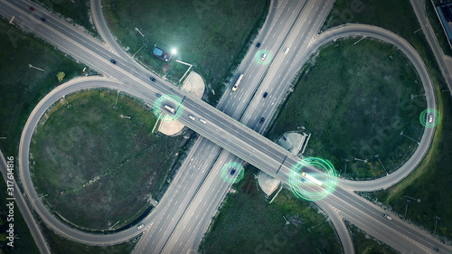 GPS navigation and autonomous driverless transportation concept Fotobehang
