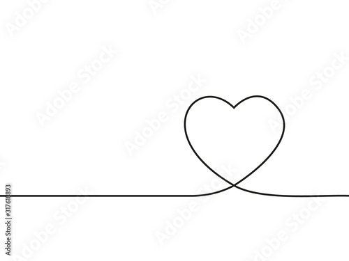 Fotografia Valentines background with love heart one line drawing