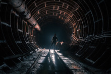 Stalker In The Subway Tunnel