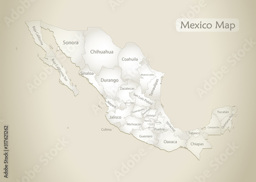 Photo Mexico map, administrative division with names, old paper background vector