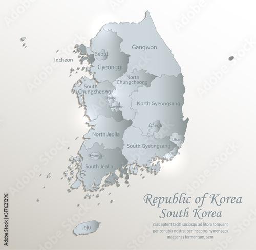 Photo South Korea map, Republic of Korea, administrative division with names, white bl