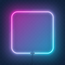 Neon Square Frame, Border With...
