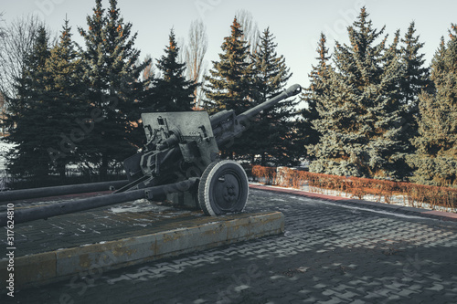 Anti tank gun in military park Canvas Print