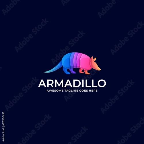 Photo Vector Logo Illustration Armadillo Walking Gradient Colorful