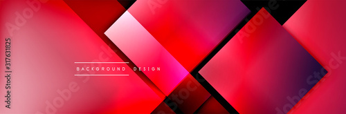 Square shapes composition geometric abstract background. 3D shadow effects and fluid gradients. Modern overlapping forms - 317631825