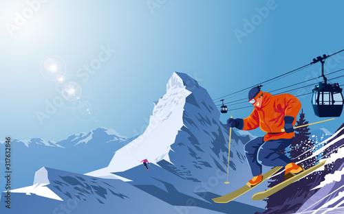 Fotomural Snow ski on snow mountain