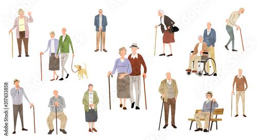 Illustration material: people, senior, lifestyle Wallpaper Mural