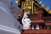 White Statue At Royal Park Rajapruek (Hor Kam Luang) Famous Sightseeing For Tourists In Chaing Mai, Thailand.