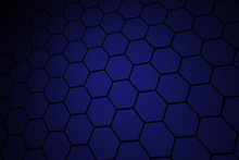 Honeycomb Grid Tile Random Background Or Hexagonal Cell Texture. In Color Purple Or Violet With Dark Or Black Gradient. Tecnology Concept.