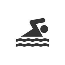 Person Swimming Icon Vector Fo...