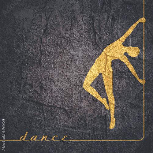 Fototapeta Silhouette of girl and pole. Pole dance illustration. obraz