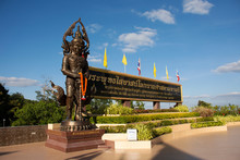 King Vessavana Or Kuvera Statue For Thai People And Travelers Travel Visit And Respect Pray At Wat Pa Phu Kon Temple On December 18, 2019 In Udon Thani, Thailand