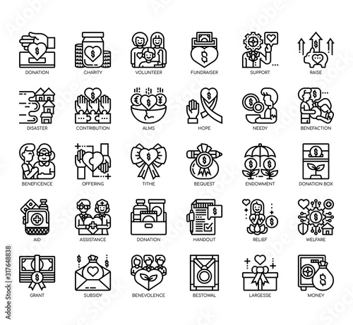 Photo Set of charity thin line and pixel perfect icons for any web and app project