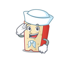 A Mascot Design Of Dutch Cheese Sailor Wearing Hat