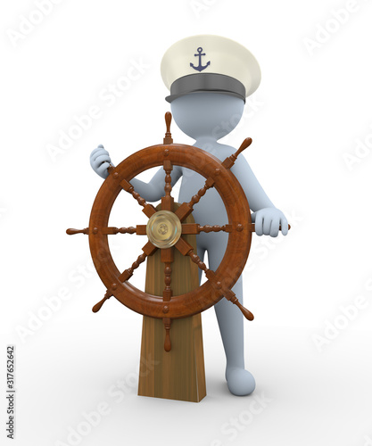 Fotomural 3d man captain sailing a rudder ship steering wheel