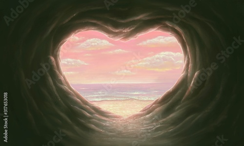 Cave of love with the sea, surreal artwork
