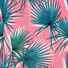 Seamless Pattern With Image Of A Green Fan Palm Leaves On A Pink Background. Vector Illustration.