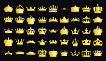 Illustration Vector Simple Gold Crown Collection