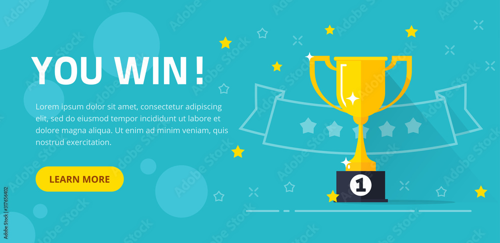 Fototapeta Winner success award web banner or competition achievement cup win background vector illustration flat cartoon, idea of first place prize flyer, contest champion trophy website backdrop template