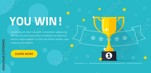Valokuva Winner success award web banner or competition achievement cup win background ve