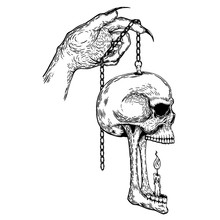 Skull With Hand Hanging A Lamp...