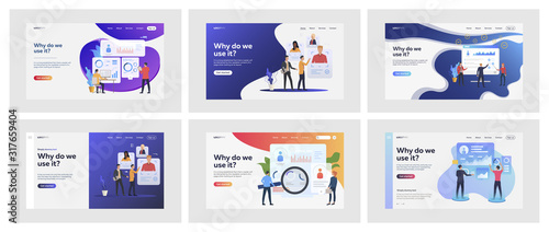Fototapeta Set of business people validating personnel. Flat vector illustrations of busy men and women assessing coworkers. Business and corporate world concept for banner, website design or landing web page obraz