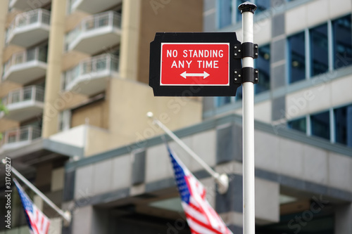 Prohibitive traffic sign in New York City. No standing anytime. Canvas Print