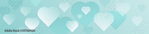 Decorative horizontal soft aquamarine hearts banner Wallpaper Mural