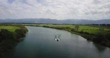 Drone Shot Of A River In New Z...