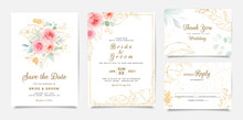 Elegant Wedding Invitation Template Design Of Peach Rose Flowers And Gold Leaves. Botanic Illustration For Save The Date, Event, Cover, Poster. Set Of Cards With Floral Decoration Vector