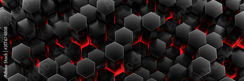 Black wall of honeycombs. Chaotic Cubes Wall Background. Panorama with high resolution wallpaper. 3d Render Illustration