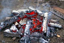 Red Hot Coals Closeup Backgrou...