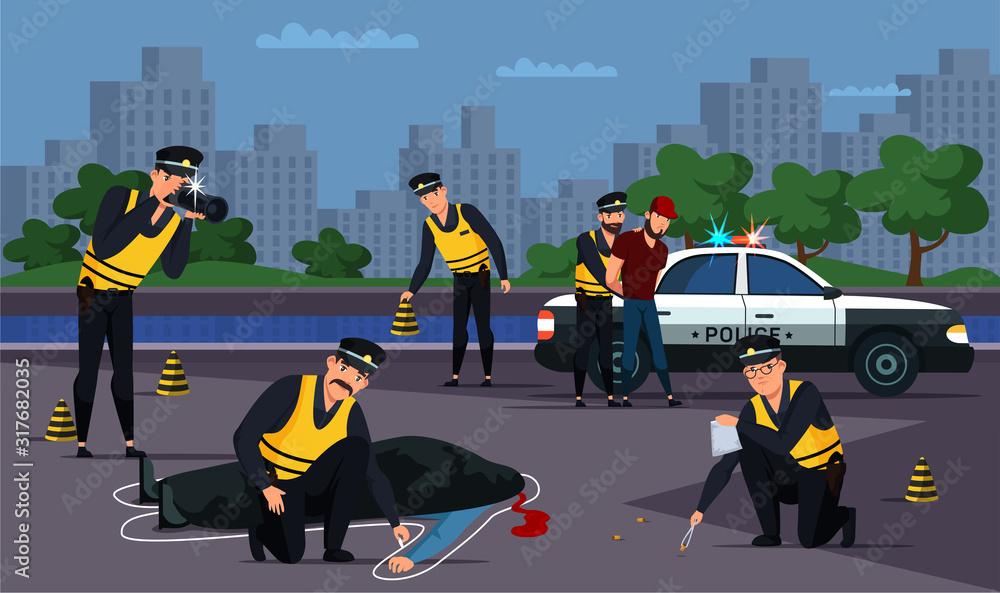 Fototapeta Criminal detention and road murder investigation